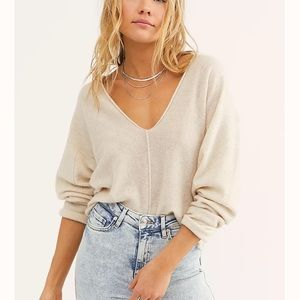 Free People Solitaire Cashmere V Olive Green